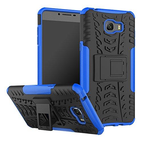xinyunew Cover Samsung Galaxy C9 PRO,Custodia 360 Gradi+ Pellicola Protettiva in Vetro Temperato Case Cover custodie Cellulare Stilosa Protettiva Bumper per Samsung Galaxy C9 PRO- Blu