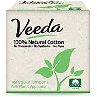 Veeda, 100% Natural Cotton Tampon with Plastic Applicator, Regular, 16 Tampons