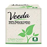 Veeda, 100% Natural Cotton Tampon with Plastic Applicator, Regular, 16 Tampons