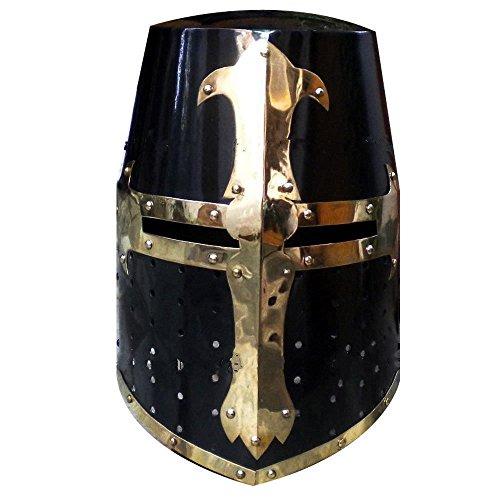 Casco medieval Crusader Templar Knight con acabado en latón
