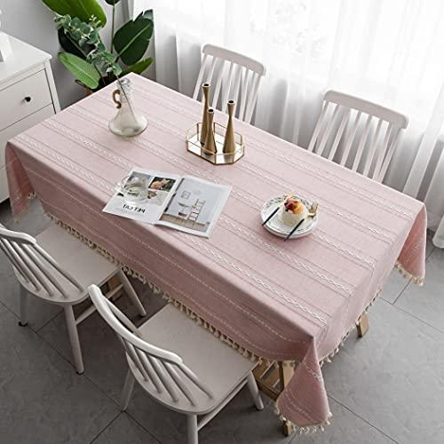 Paño de mesa de tela de algodón, diferentes tamaños para elegir, mantel lavable, rectangular, a prueba de polvo, cubierta de mesa para cocina, comedor, mesa, banquetes o comedor (140 x 180 cm)