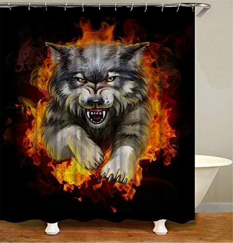 Tong XIN Animales feroces y Llamas Negro Rojo Proteja la Cortina de Ducha de privacidad, la Cortina de Ducha Impresa es fácil de Quitar