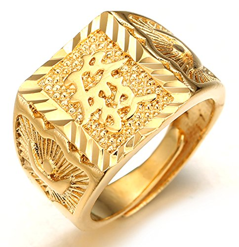 Halukakah  Oro Bendiga Todo  Hombres Anillo Chapado en 18K Oro Real Rico Tamaño Ajustable con CajaDeRegaloGRATIS