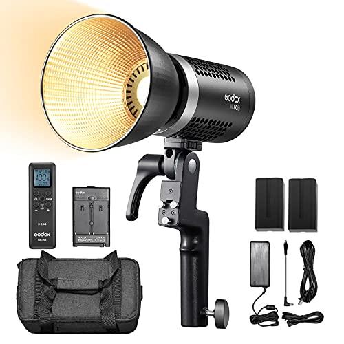 【Godox正規代理店】Godox ML60/ML60Biバイカラー 60W LEDビデオライト撮影補助光 手持ち式 2800K-6500K CRI 96+ TLCI 97+ 静音ファンモード RC-A6リモコンとバッテリー同梱 (ML60Bi)