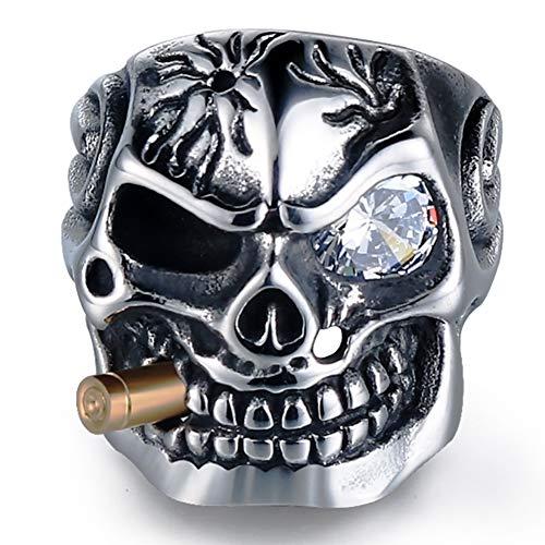 Punk Skull Ruth's Eye Set Anillo de Diamantes, Acero Inoxidable Manatee Skull Bullet Gothic Rock Locomotora Hip-Hop Romantic Fashion Band Treasures Hombres Mujeres 7-15,White Diamonds,8