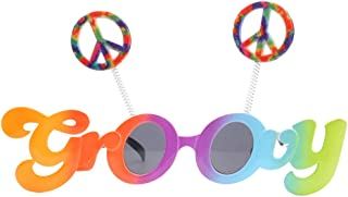 5722c4e0cb OULII Novelty Groovy Sunglasses Peace Signs Funny Glasses Costume With Grey  Lenses for Party Cosplay Decoration