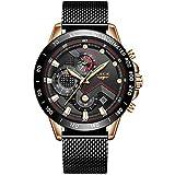 Reloj de Hombre La Moda Impermeable Los Deportes Relojes de Cuarzo analógicos Acero Inoxidable Negocios Vestido Cronógrafo Marca LIGE Fecha Calendario Reloj Negro