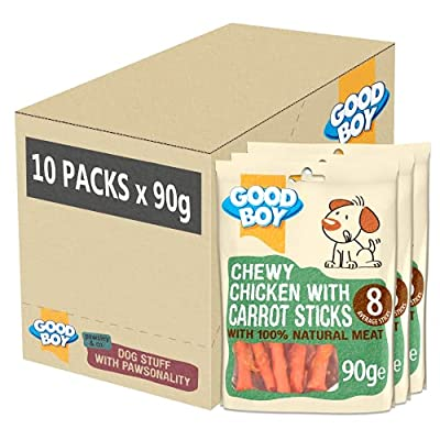 Good Boy - Chewy Chicken With Carrot Sticks - Dog Treats - Made With 100% Natural Chicken Breast Meat - 10x90 grams - Rawhide Free Dog Treats