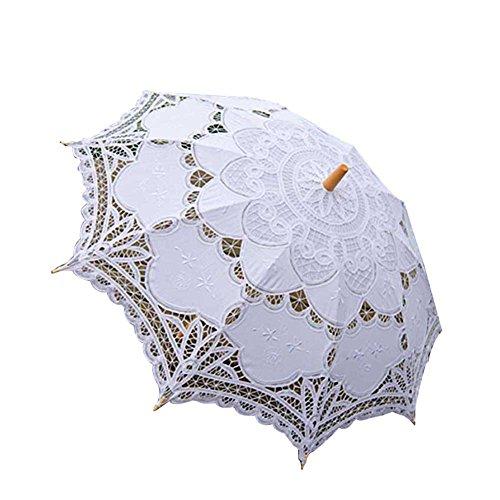 Sombrilla de encaje Cutogain con mango de madera para novias, ideal para...