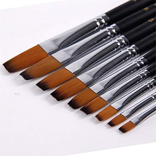 Belleashy Peinture Pinceau 9 pièces/Set Nylon Cheveux Huile Pinceau Acrylique Pinceau Plat Grasses Pinceau pulvérisateur (Color : Black, Size : 9pcs)
