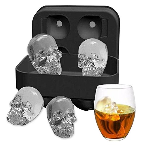 Ice Mold Skull 3D Flexible Silicone Ice Cube Molds Maker Tray, 4 Giant Skulls, Round Ice Cube Maker