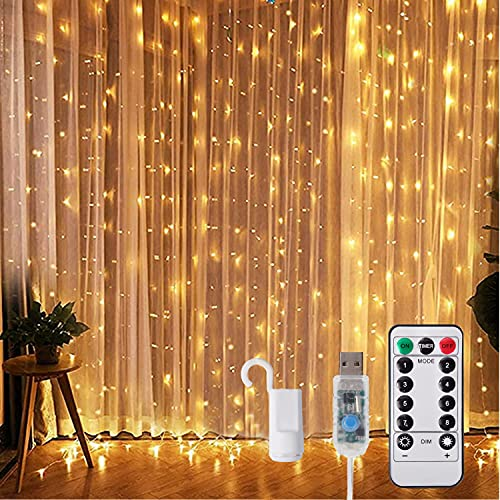 Cortina de luz 3x3m Cadena de luces LED 300 LEDs USB Cortina de luces de la cadena con 8 modos IP65 a prueba de agua Deco para la Navidad, la decoración del partido, la iluminación interior