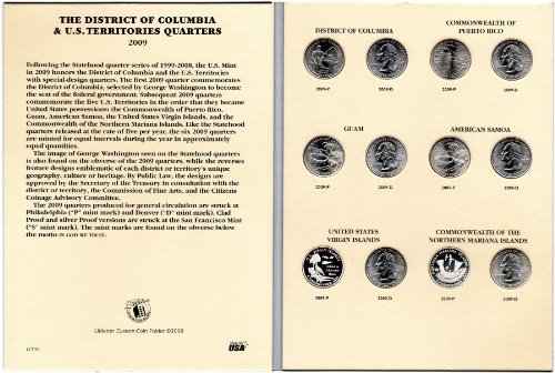 2009 P, D Complete 12-coin Set of D.C. & Territory Quarters in a Littleton Folder Uncirculated