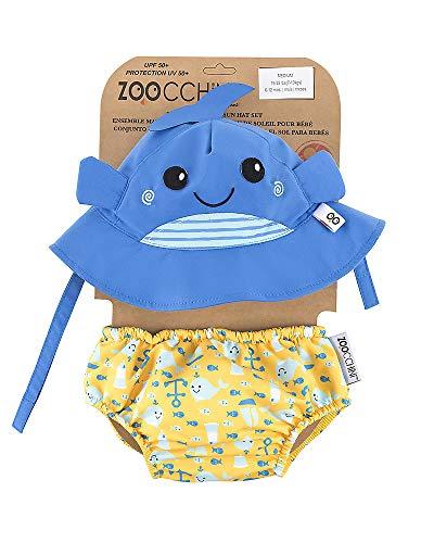 Zoocchini - Set Baby Costumino Contenitivo e Cappellino, Multicolore (Balena), L (12-24 Mesi)