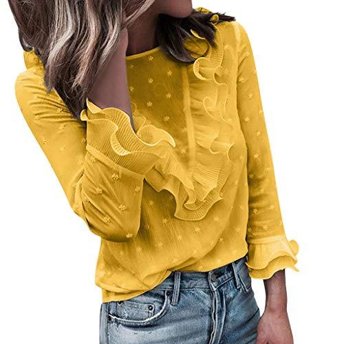 Dtuta Tops Sweatshirt Damen, Frauen Elegant Polka Punkt Lange Ärmel Blusen Vintage Spitzenbluse Rüschen Langarm Oberteil Weißes Tunika Basic Shirt Hemd T-Shirt Pullover Gelb L L2 M S XL