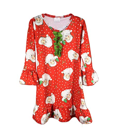 U/N Girls' Christmas Nightgown Soft Cotton Santa Claus Sleepwear 3 Years Old Red