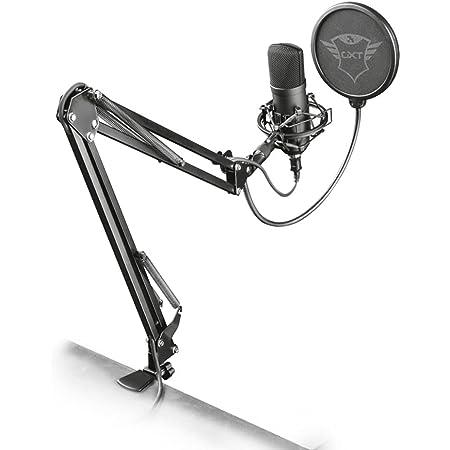 Trust Gaming GXT 252+ Emita Plus Micro Studio USB, Microphone Professionnel Gamer avec Bras Articulé pour PC, PS4, PS5, Ordinateur, Chant, Streaming, Podcast- Noir/Gris