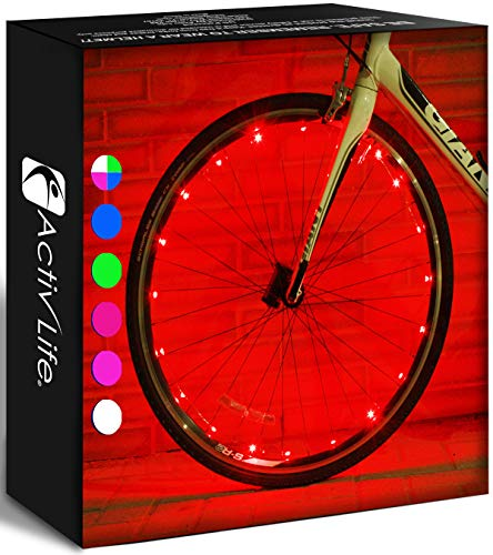 Activ Life Bicycle Tire Lights (2 Wheels, Red) Hot LED Bday Gift Ideas & Presents for Christmas - Popular Friday Black and Monday Cyber Special Sale for Him or Her - Men, Women, Kids & Fun Teens