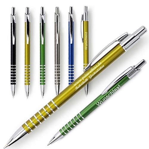 polar-effekt 1 Metall Rings Kugelschreiber mit Gravur des Namens - Personalisierte Geschenk-Idee zum Geburtstag Mitbringsel - blau schreibend - Farbe grau