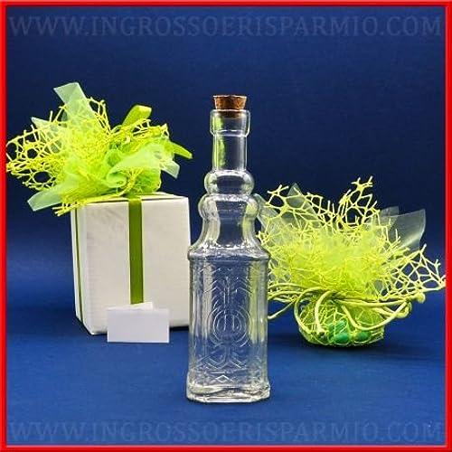 Flasche  oder Lik Glas A quadratisch mit graviertem Glas und Korkverschluss Gastgeschenk Taufe, Kommunion, Firmung, Hochzeit kit 48 pz. Rosa in scatola