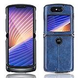 HDOMI Motorola Razr 5G 2020 Hülle,Ultraweiche TPU Rahmenstoßstange & PU Leder Hart PC Schutzhülle für Motorola Razr 5G 2020 (Blau)