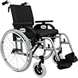 FabaCare Premium Rollstuhl Dolphin 271357, Aluminium, Leichtgewichtrollstuhl, Alurollstuhl, bis 150 kg, FabaCare Easy to Clean Spezialversiegelung, Sitzbreite 57 cm -