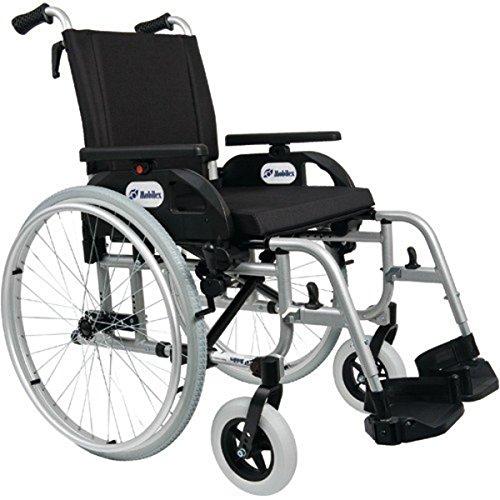 FabaCare Premium Rollstuhl XXL Dolphin 271357 mit Aluminiumrahmen, Leichtgewichtrollstuhl, Alurollstuhl, Sitzbreite 57 cm, bis 200 kg, mit FabaCare Easy To Clean Spezialversiegelung