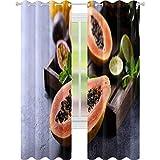 YUAZHOQI Cortinas oscurecedoras de habitación Papaya fruta dulce madura Papaya cruda comida vegana cruda 132 x 182 cm cortinas opacas para dormitorio