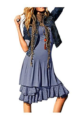 Heine Best Connectios Damen-Kleid Kleid mit Spitzenunterrock Größe 40 blau