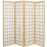 Fine Asianliving Biombo Japonés Shoji A180xA180cm 4 Paneles Papel de Arroz Natural - Tana Separador biombo Separador Divisor Habitación Biombos de Dormitorio Diseño Espacios