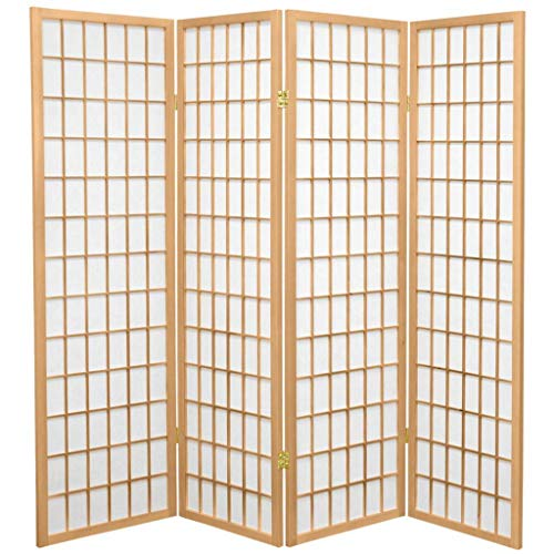 Fine Asianliving Japanischer Raumteiler L180xH180cm Paravent Shoji Reispapier TANA/N4 Sichtschutz Trennwand Faltbar Raumtrenner Spanische Wand - 112-518
