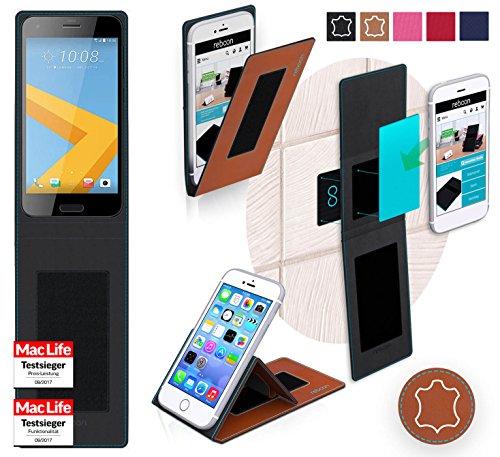 reboon Hülle für HTC One A9s Tasche Cover Hülle Bumper | Braun Leder | Testsieger
