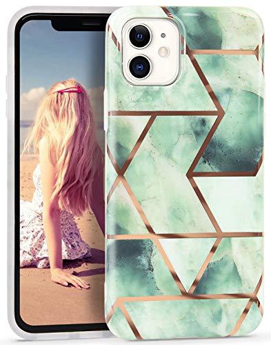 Imikoko Hülle für iPhone 11 Glitzer Marmor Weich Silikon Handyhülle Stein Marble Schlank TPU Bumper Handytasche Flexible Schutzhülle Soft Back Cover Gummi Dünn (Grün)