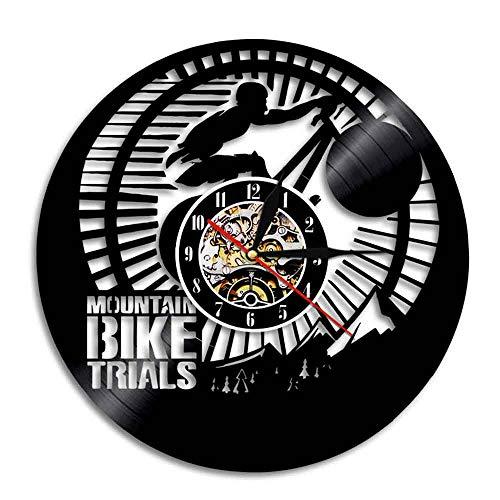 Gtllje Bicicleta de montaña decoración de Discos de Vinilo Reloj de Pared 3D Reloj de Tiempo de Carreras de Bicicletas Deportes Bicicleta Arte decoración de la Pared Moderna 30x30 cm