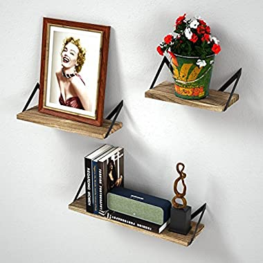 RooLee Floating Wall Mount Shelves Set of 3 Rustic Wood Shelves for Perfect Decor of Any Room (Torched Finish)