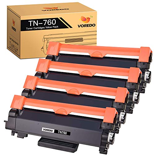 Voredo Compatible Toner Cartridge Replacement for Brother TN760 TN-760 TN730 TN-730 to use with MFC-L2710DW HL-L2395DW HL-L2370DW HL-L2350DW DCP-L2550DW MFC-L2750DW HL-L2390DW Printer (4-Pack)