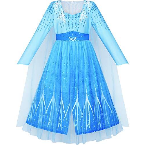Sunny Fashion Vestito Bambina La Neve Regina Ghiaccio Principessa Costume Festa di Compleanno 6 Anni