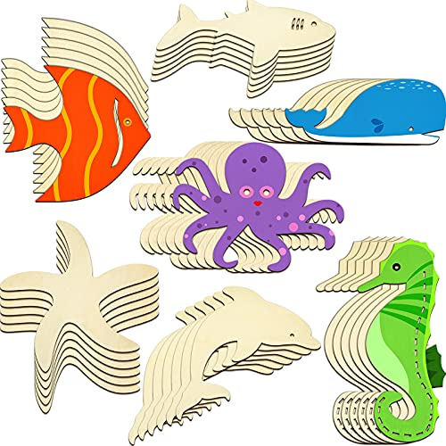 Unfinished Wood Cutouts Ocean Animals Wooden Paint Crafts for Kids Home Decor Ornament DIY Craft Art Project, Octopus, Shark, Whale, Dolphin, Seahorse, Fish, Starfish Shape(28 Pieces)