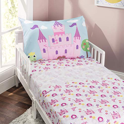 Everyday Kids 3-Piece Toddler Fitted Sheet, Flat Sheet and Pillowcase Set - Princess Storyland - Soft Breathable Microfiber Girls Toddler Sheets Set - Toddler Bed Sheets