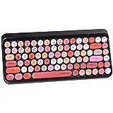 UBOTIE Portable Bluetooth Colorful Computer Keyboards, Wireless Mini Compact Retro Typewriter Flexible 84Keys Design Keyboard (Pink-Colorful) (Renewed)