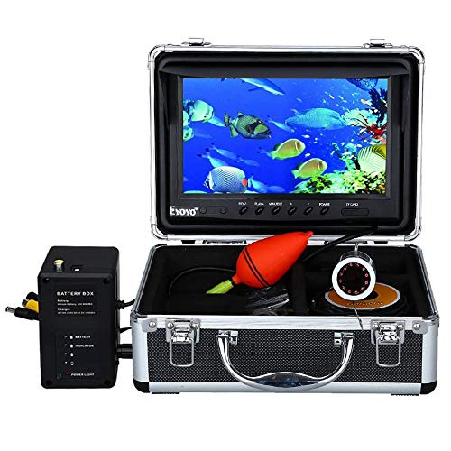 Eyoyo Portable 9 inch LCD Monitor Fish Finder HD 1000TVL Fishing Camera Waterproof Underwater DVR Video Cam 30m Cable 12pcs IR Infrared LED for Ice,Lake and Boat Fishing