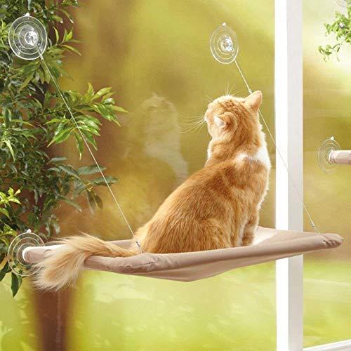 YIQI Hamaca para Gato, diseño de Ahorro de Espacio, Percha para Ventana con ventosas Grandes, Cama de Gatito, Transpirable, Tela Oxford y Bolsa de Dormir montada en alféizar(55x32cm)