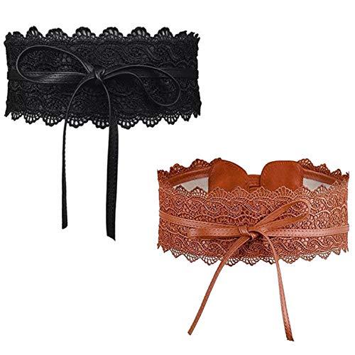LHKJ 2 Stücke Vintage Damen Taillengürtel,Spitze Breit Hüftgürtel Bindegürtel Wickelgürtel