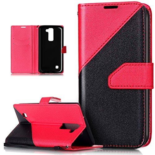 Kompatibel mit Schutzhülle LG Stylus 2 LS775 Hülle Handyhülle Leder Hülle,Schlagfarbe Nähte Spleiß Stil Naht Farben PU Lederhülle Flip Hülle Handyhülle Ständer Tasche Wallet Schutzhülle,Rot