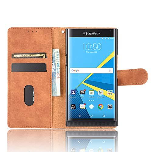 Dhongf Hülle für BlackBerry Priv Handyhülle zusammenklappen Stoßfest Kratzfest 360 R&umschutz Holster für BlackBerry Priv Hülle Braun