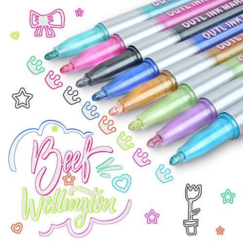 Sinwind Outline Marker, 8 Farbe Magische Stifte Kinder Glossy Magic Stifte Outline Stift Double Line Pen für Weihnachten Karten Scrapbooking Gästebuch Fotoalbum Zubehör Handlettering Adventskalender
