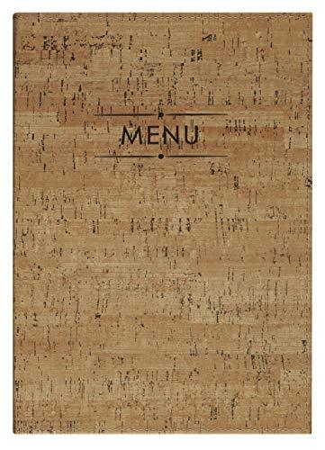 Lacor Velázquez collection 28331 - Porta Menú fabricado en Similpiel con fundas fijas de PVC en piel de naranja resistentes, Termosellado en color marrón, 23x32 cm (A4)
