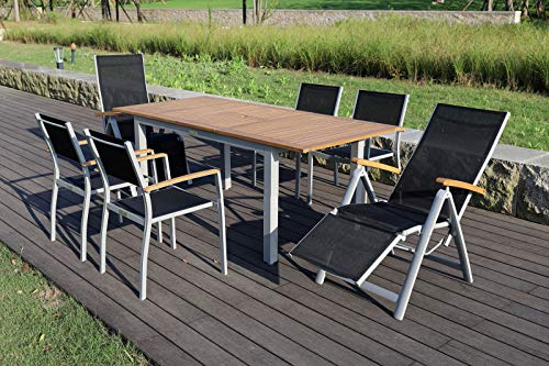Villana - Juego de Mesa de Comedor (Aluminio y Madera de Acacia FSC, Mesa Extensible de 150/200 x 90 cm, 2 sillones de Relax, 4 sillones), Color Plateado y Negro