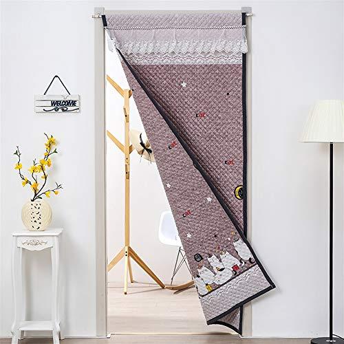 Liveinu Thermo Tür Vorhang Gestepptes Verdunklungsgardine Thermovorhang Wärmeschutzvorhang Japanische Noren Panels Panel-Isolierung mit Teleskopstange 80x200cm Süßes Kätzchen Braun