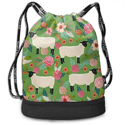 Ovilsm Cord Bag Sackpack Suffolk Sheep Farm Animal Floral Drawstring Bag Rucksack Shoulder Bags Travel Sport...